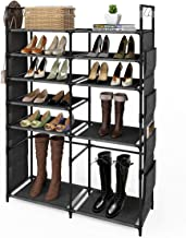"""ZERO JET LAG 57"""" H Shoe Rack Boots Storage Organizer 6 Tiers Closet Entryway Shelf Stackable Cabinet Tower Double Row Non-Woven Fabric Metal 20-25 Pairs Black"""