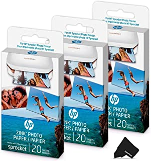 $30 » HeroFiber 3 Pack HP Sprocket Photo Paper, 60 Sticky-Backed Sheets Total, Exclusively for HP Sprocket Portable Photo Printer, (2x3 inch) + Herofiber Microfiber Cloth