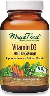 MegaFood, Vitamin D3 2000 IU, Immune and Bone Health Support, Vitamin and Dietary Supplement, Gluten Free, Vegetarian, 90 ...