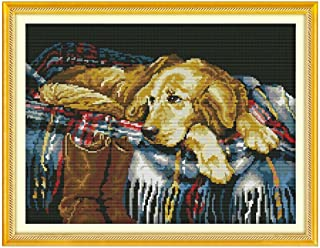 Anself Cross Stitch Set Dog Pattern DIY Embroidery Kit for Home Decor 43 X 33cm