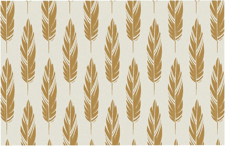 KESS InHouse AL1029CDM02 Amanda Lane Feathers Yellow Cream Mustard Pattern Dog Place Mat, 24 x15