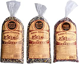 Amish Country Popcorn - 3 (1 lb. Bag Gift Set) Purple, Blue and Red Kernels - with Recipe Guide - Old Fashioned, Non GMO, and Gluten Free