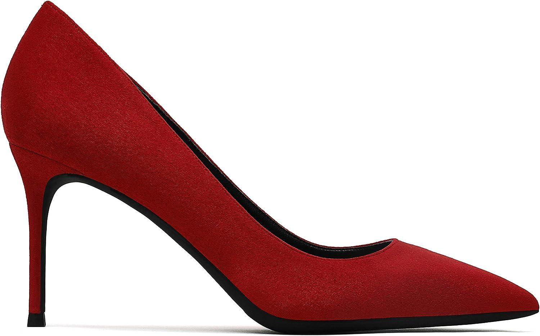 Elegant pumps Hoge hakken van 8 cm voor dames Mode Suède puntige schoenen 182 rood
