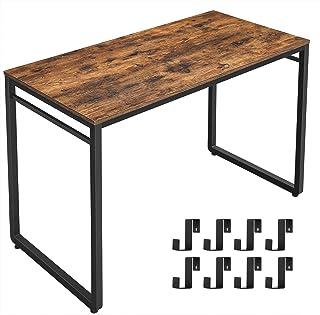 VASAGLE Escritorio, Mesa de Ordenador, Mesa de Oficina con 8 Ganchos, 120 x 60 x 75 cm, para Estudio, Oficina, Fácil de Mo...