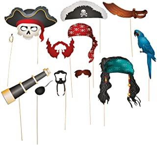 Fun Express Pirate Photo Booth Props | Stick Paper Accessories | 12 Count | Great for Birthday Bash, Costume Parties, Scho...