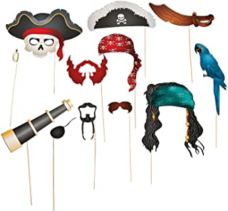Fun Express Pirate Photo Booth Props | Stick Paper Accessories | 12 Count | Great for Birthday Bash, Costume Parties, School Fair, Classroom Activities
