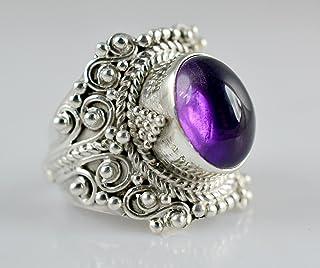 Anillo de plata amatista, anillo, anillo de piedra de gema, anillo de plata, anillo hecho a mano, anillo de plata de ley 9...
