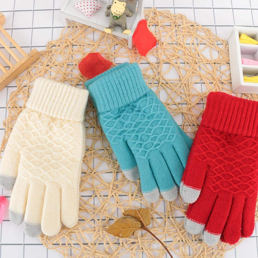 1 Pair Winter Autumn Women Knitted Gloves Touch Screen Thicken Warm Wool Solid Color Full Finger Gloves Mitten - (Color: grey)