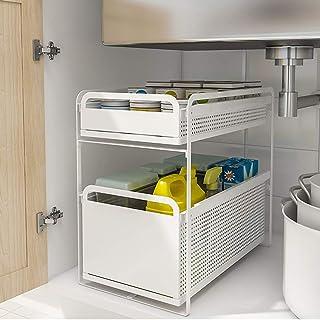 HHXX Porte Epice, Cuisine sous évier étagère De Rangement Double Couche, Acier Rouleau Coulissant Et Tiroir Design Organis...