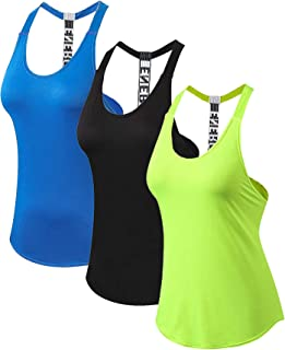 JNINTH Women's Sports Top Fitness Yoga Shirt Running T-Shaped Back Quick-Drying Loose Workout Tank Top