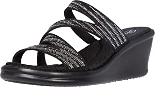 Skechers Women's Rumblers-Mega Flash-Rhinestone Multi Strap Wedge Slide Sandal