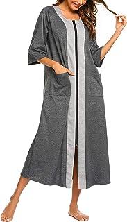 Ekouaer Women Zipper Robes Full Length Nightgowns Cotton Loose Housecoat Half & 3/4 Sleeve Loungewear with Pockets S-XXL