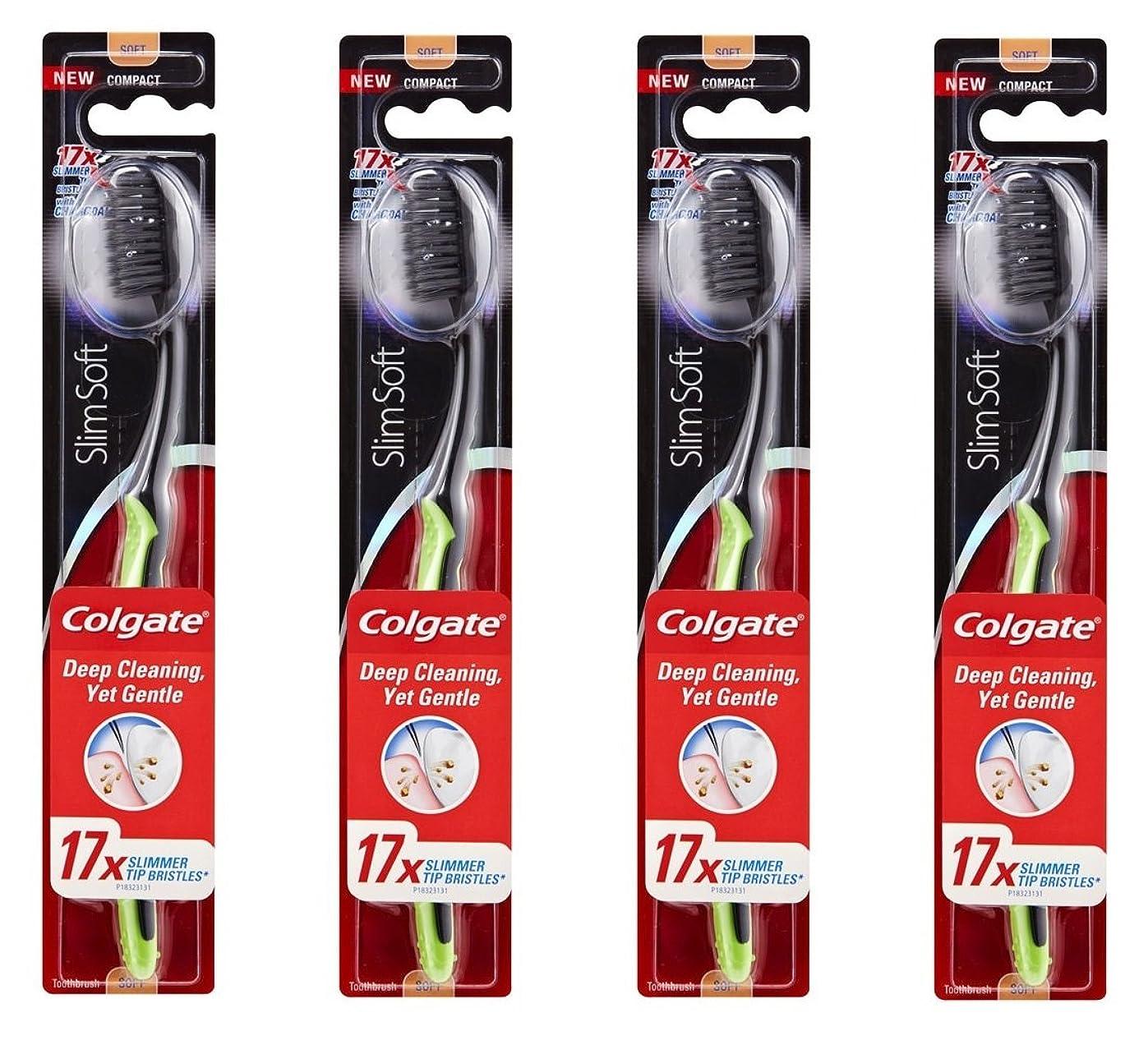 ジョガー等振りかけるColgate Slim Soft Charcoal 木炭毛 スリム、ソフト 4個 [並行輸入品]