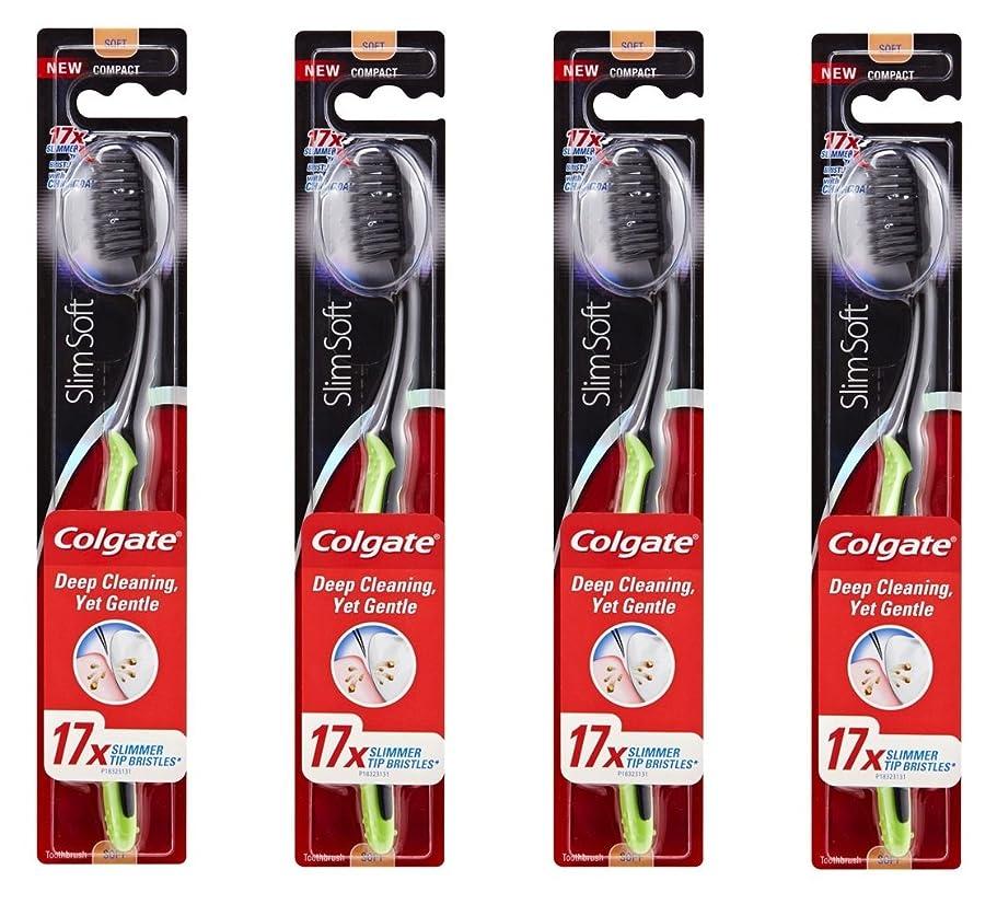 空白睡眠広くColgate Slim Soft Charcoal 木炭毛 スリム、ソフト 4個 [並行輸入品]