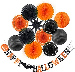 SUNBEAUTY Halloween Decoration Kit Party Banner Paper Fans Lanterns Honeycomb Balls for Halloween Party Birthday Event Decorations Black Orange 13Pieces