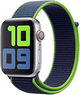 Apple Watch Kordon 42 / 44 mm Seri 2 3 4 5 Spor Loop Kordon Neon Yeşil