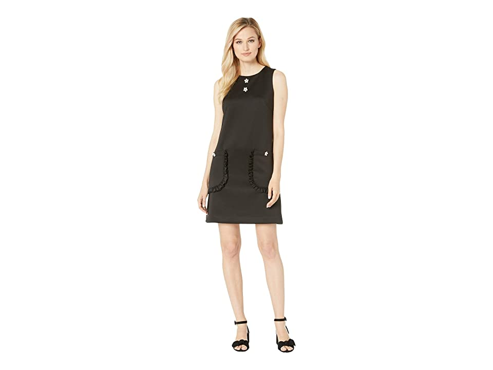 Betsey Johnson Scuba Shift Dress with Pockets and Daisies (Licorice) Women