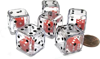 Set of 6 D6 19mm Double Dice, 2-In-1 Dice - Red Inside Clear Die by Koplow Games