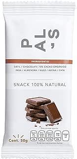PAL'S Snacks barra de energía 100% natural y proteína, Vegana, sabor Chocolate Amargo y Chía, 50 gr, 6 barras