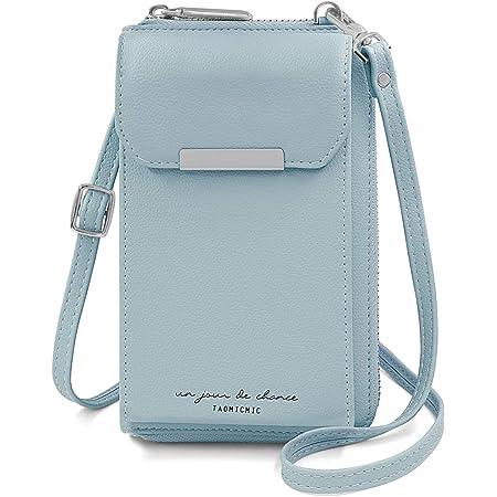 HNOOM Handtasche Damen Umhängetasche Handytasche Zum Umhängen Portemonnaie Geldbörse Multifunktion Handy Umhängetasche, 2 Fächer 1 Handyfach 6 Kreditkartenfächer (Blau-2)