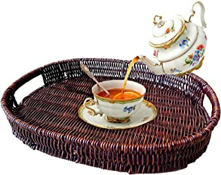 Handmade Rattan Serving Tray Woven Rattan Tray with handles for breakfast,coffee,tea,dining,Drinks,snacks,Fruits (39 * 29...