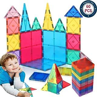 HOMOFY Kids Magnet TilesToys 60Pcs Oversize 3D Magnetic Building Blocks Tiles Set,Inspirational Educational Toys for 3 4 5 6 Year Old Boys Gilrs Gifts