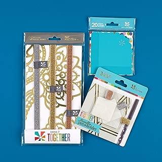 Erin Condren Designer Planner Accessories Bundle - Includes 3 Metallic Pen Holders, 3 Metallic Elastic Band & 20 Turquoise Corner Sticky Pockets