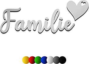 3D muursticker FAMILIE van hout met het lettertype | Karmesin | in 7 verschillende kleuren en 3 groottes Spreuken voor de ...