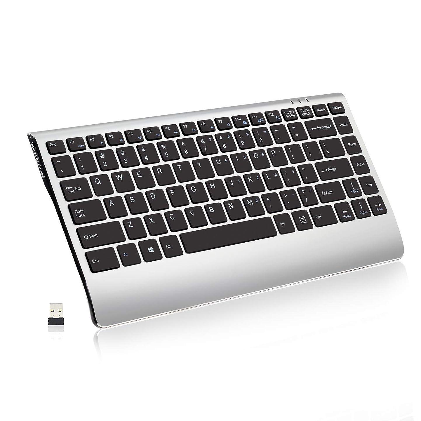 Wireless Keyboard, 2.4GHz Slim Compact Low-Profile Rechargeable Wireless Keyboard for Laptop, Mac, Notebook, PC, Desktop, Computer, Windows 10/7/XP, iOS, Soundance Black and Silver oxswotpcwfq7