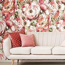 ورق جدران من رووم ميتس بألوان مائية حمراء ووردية وخضراء قابلة للإزالة