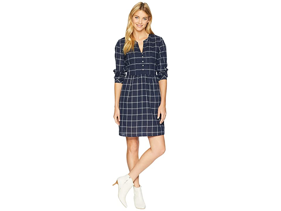 Mod-o-doc Windowpane Flannel Plaid Mandarin Collar Tuxedo Pleat Dress (Navy) Women