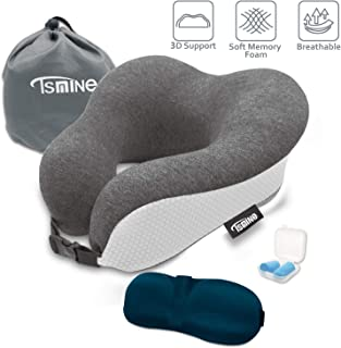 Tsmine Travel Neck Pillow Memory Foam - Neck Support Pillow Ergonomic Design Car Pillow with Soft Cotton Washable Cover, 3D Eye Mask and Earplugs for Car, Airplanes, Home, Office, Bus and Train - Gray