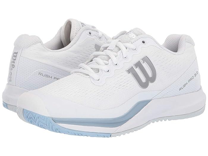 Wilson  Rush Pro 3.0 (White/Cashmere Blue/Illusion Blue) Womens Tennis Shoes