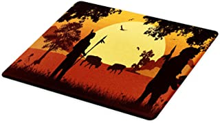 Lunarable Bison Cutting Board, People Silhouettes at Sunset Western Chief Tribal Design, Decorative Tempered Glass Cutting and Serving Board, Large Size, Cinnamon Orange