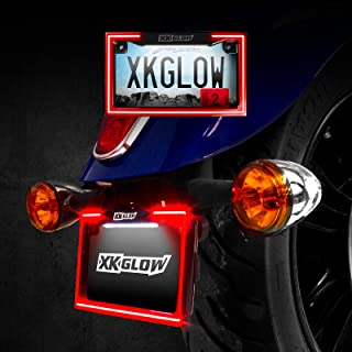 XKGLOW Motorcycle License Plate Frame Light w/Turn Signal Running and Brake Light 200 Red LEDs/ 18 White LEDs - Black