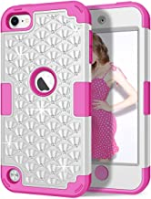 iPod Touch 6th/5th Generation Case, iPod Touch 6/5 Case, Hocase Bling Sparkle Glitter Shockproof Silicone Heavy Duty Protective Hard Case for iPod Model A1574/A1509/A1421 - White/Deep Pink