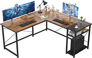 میز بازی Ecoprsio L-Shape L بزرگ میز بازی با قفسه های ذخیره سازی میز مطالعه گوشه صنعتی میز مطالعه نوشتن برای ایستگاه های کاری بازی های خانگی ، قهوه ای و مشکی