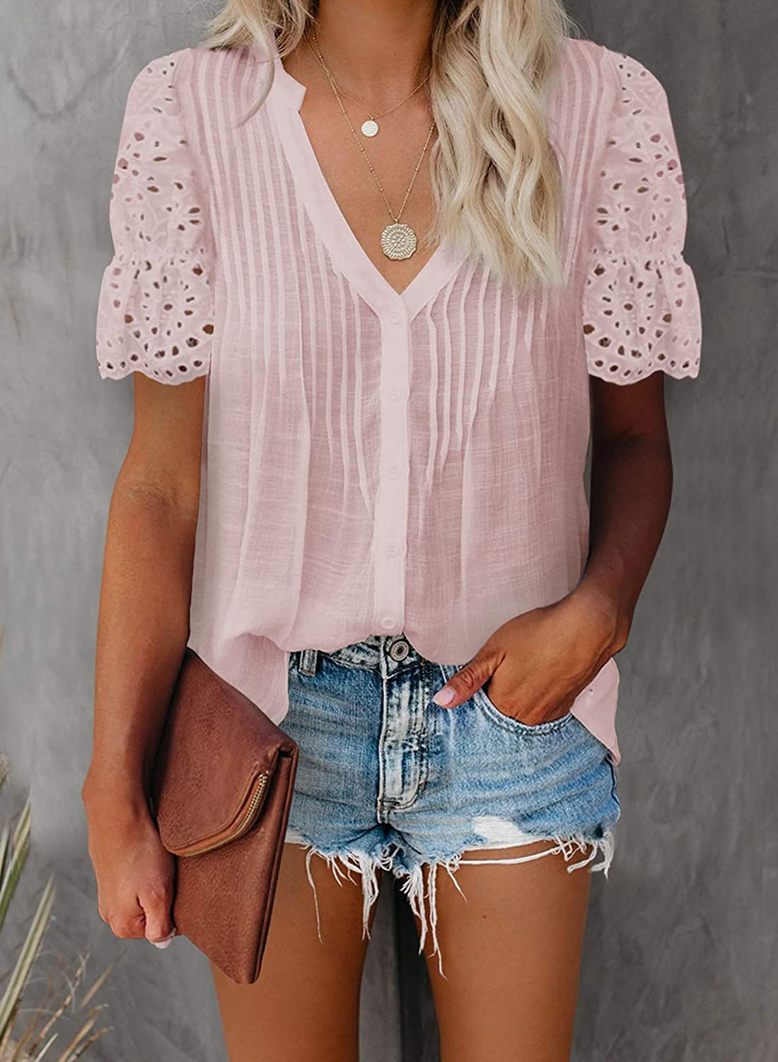 HOTAPEI Women's V Neck Lace Crochet Eyelet Tops Summer Short Sleeve Button Down Casual T Shirts Blouses