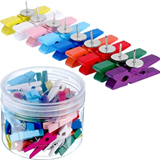 Tatuo 70 Pieces Wooden Clips with Push Pins Clothespins Decorative Craft Paper Clips Pushpins Tacks Thumbtacks for Notes Photos Cork Boards Craft Projects (Multi-Colored)