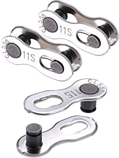 Jovitec 3 Pairs Bicycle Missing Link 11 Speed Chain Reusable Silver Steel Bike Chain Link