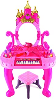 VikriDa Kids Battery Operated Beauty Makeup Role PlaySet with Piano, Real Blower and Mirror Durable Dressing Vanity Table up with Music and Lights for Kids