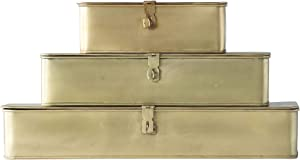 Creative Co-Op Decorative Metal Boxes with Gold Finish (Set of 3 Sizes)