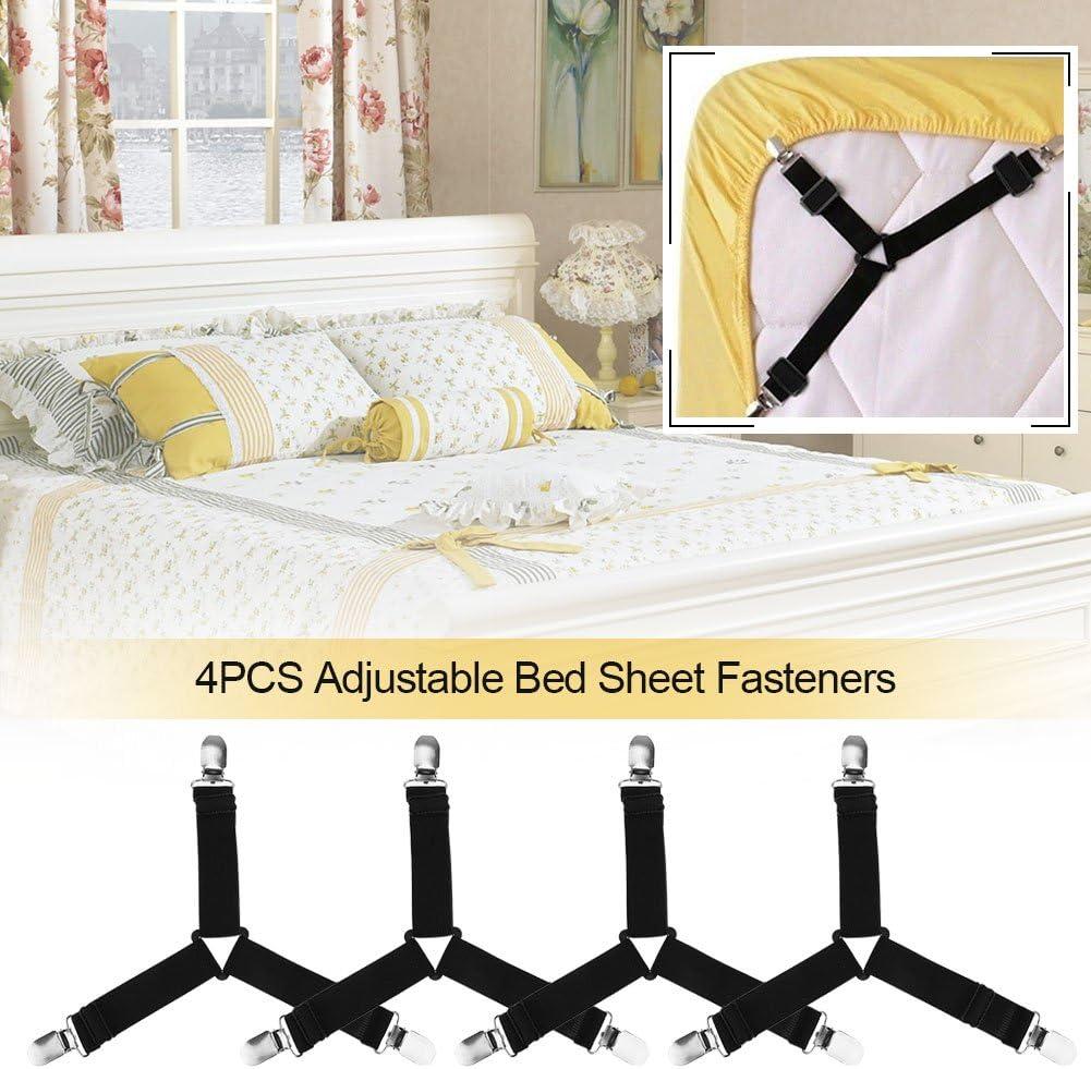 Black Matratzenauflage 4 St/ück elastische BetttuchspannerTOPINCN Dreieck Form Bettlaken Riemen mit robusten Edelstahl Clips f/ür Spannbettlaken Sofa Kissen