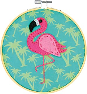 Dimensions Needle Crafts Flamingo Wool Felt Applique Embroidery Craft Kit, 6''