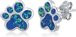 Sterling Silver/Rose Tone High Polish Created Blue or Pink Opal Paw Stud Earrings