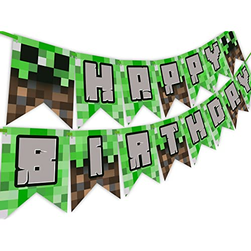 POP Parties Pixel Party Happy Birthday Banner