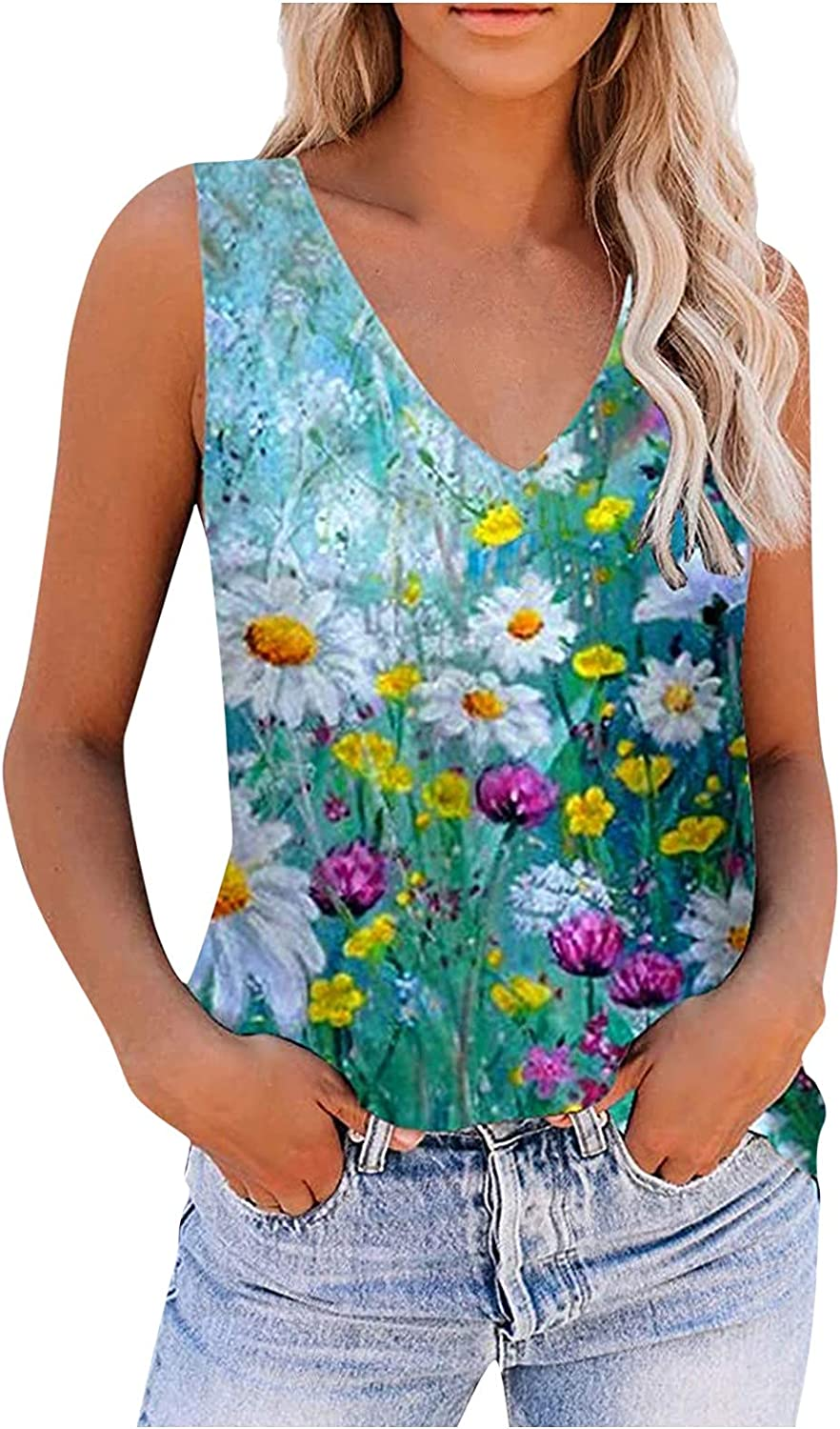 Womens Tops and Blouses, Women Casual Fashion Summer Print Sleeveless Vest Top Shirt Slim Blouses Tank Tops