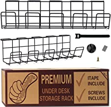 Under Desk Cable Management Tray - Wire Organizer for Cable Management - Glass Table Storage Cable Management Tray for Off...