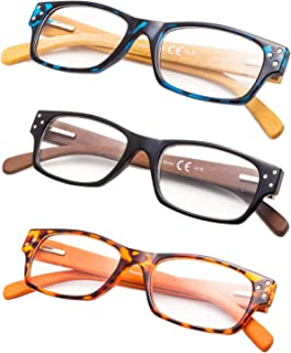 3-Pack Wood Arms Reading Glasses with Spring Hinges