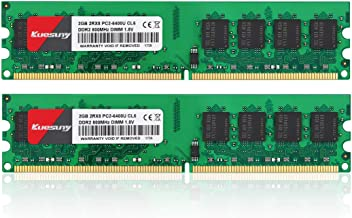 4GB Kit (2GBX2) DDR2 800 Udimm RAM, Kuesuny PC2-6400/PC2-6400U 1.8V CL6 240 Pin Non-ECC Unbuffered Desktop Memory Modules